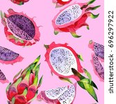 exotic pitaya healthy food...   Shutterstock . vector #696297922