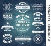 merry christmas vintage white... | Shutterstock . vector #696298012
