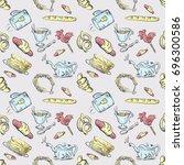 vector seamless pattern tea set ... | Shutterstock .eps vector #696300586
