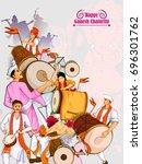 lord ganpati in vector for... | Shutterstock .eps vector #696301762