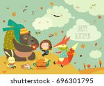 girl with animals at picnic | Shutterstock .eps vector #696301795
