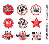 black friday lighting label red ... | Shutterstock . vector #696304606