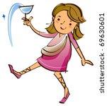girl holding glass | Shutterstock .eps vector #69630601