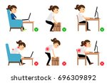 woman cartoon character sitting ... | Shutterstock . vector #696309892