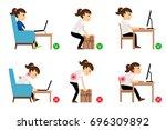 woman cartoon character sitting ... | Shutterstock . vector #696309892