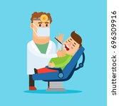 dentist cartoon character.... | Shutterstock . vector #696309916