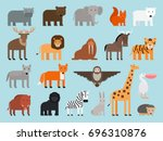 zoo animals flat colorful icons ... | Shutterstock . vector #696310876