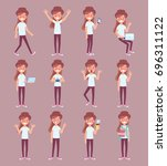 young girl  in casual clothes... | Shutterstock .eps vector #696311122