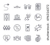 airplane and airport icons set... | Shutterstock .eps vector #696316372