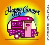 happy camper cartoon | Shutterstock .eps vector #696319162