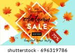 autumn sale flyer template with ...   Shutterstock .eps vector #696319786
