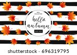 autumn sale flyer template with ... | Shutterstock .eps vector #696319795