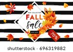 autumn sale flyer template with ... | Shutterstock .eps vector #696319882