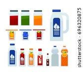 different liquid in bottles | Shutterstock .eps vector #696320875