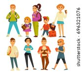 people of various ages with... | Shutterstock .eps vector #696321076