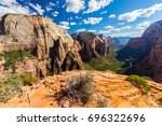 zion national park scenery  on... | Shutterstock . vector #696322696