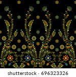 tribal seamless colorful floral ... | Shutterstock . vector #696323326