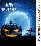 halloween background with... | Shutterstock .eps vector #696333478
