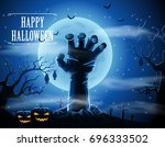 halloween background with... | Shutterstock . vector #696333502