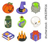 isometric 3d halloween witch... | Shutterstock .eps vector #696339016