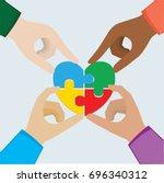 hand teamwork  heart puzzle  ...   Shutterstock .eps vector #696340312