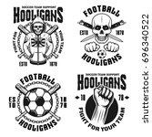 football hooligans and bandits... | Shutterstock .eps vector #696340522
