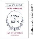 wedding invitation of hand...   Shutterstock .eps vector #696349852