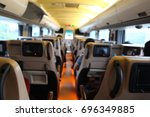 the blur view of inside the bus | Shutterstock . vector #696349885