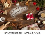 words merry christmas on flour  ... | Shutterstock . vector #696357736