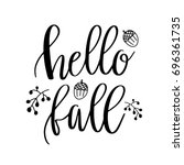 hello fall lettering text with... | Shutterstock .eps vector #696361735