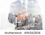 double exposure of businessman... | Shutterstock . vector #696362836