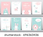 set of baby shower invitations... | Shutterstock .eps vector #696363436