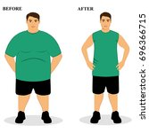 thin and fat. obesity. from fat ... | Shutterstock .eps vector #696366715