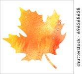 bright orange watercolor autumn ... | Shutterstock .eps vector #696368638