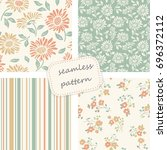 set of vintage seamless... | Shutterstock .eps vector #696372112