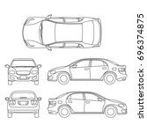 outline sedan car drawing in... | Shutterstock . vector #696374875