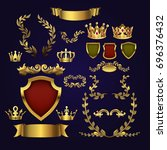 golden heraldic elements. kings ... | Shutterstock . vector #696376432