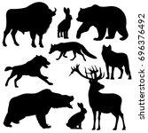 black outline wild forest...   Shutterstock . vector #696376492