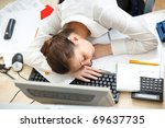 office life. young woman... | Shutterstock . vector #69637735