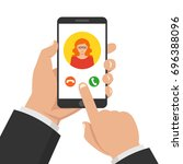 incoming call on smartphone... | Shutterstock .eps vector #696388096