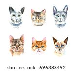 set of six different watercolor ... | Shutterstock . vector #696388492