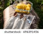 reusable wooden cutlery in... | Shutterstock . vector #696391456