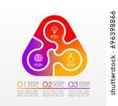 three piece flat puzzle round... | Shutterstock .eps vector #696398866
