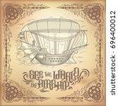 vector steampunk poster ... | Shutterstock .eps vector #696400012