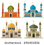arabic muslim mosques and... | Shutterstock . vector #696401836