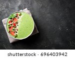 smoothie bowl with kiwi ...   Shutterstock . vector #696403942
