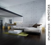 the modern lounge and double... | Shutterstock . vector #696405166