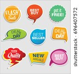 promo sale stickers and tags... | Shutterstock .eps vector #696407572