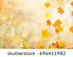 autumn leaves background | Shutterstock . vector #696411982
