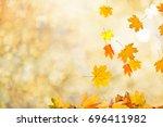 autumn leaves background | Shutterstock . vector #696411982